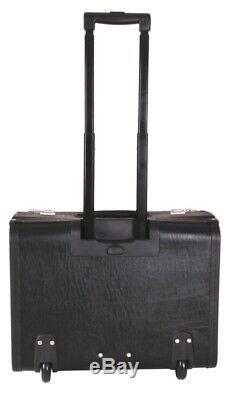 LARGE LEATHER Pilot Case Wheele Laptop Trolley Flight Briefcase Bag Hand Luggage