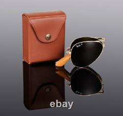 LTD EDN RAYBAN 22KT GOLD PLATED Folding AVIATOR Sunglasses RB 3479KQ 001/M7 58mm