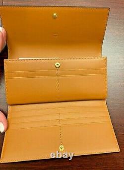 MCM Large Three Fold Wallet in Visetos Original, Cognac, BRAND NEW FREE SHIPPING