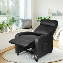 Massage Recliner Chair Single Sofa PU Leather Padded Seat with Footrest Black