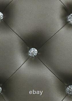 Modern 5-Piece Bedroom Set Queen Bed with LED Headboard & Mirror Metallic Silver