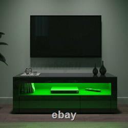 Modern High Gloss TV Stand Unit 2 Drawer with LED Light Entertainment Center Black