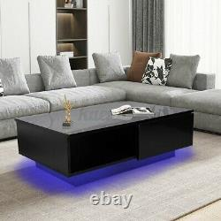 Modern LED Coffee Table with Glossy Drawer End Table Black Living Room Furniture