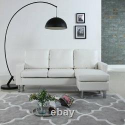 Modern White Faux Leather Sectional Sofa Small Space Configurable Couch