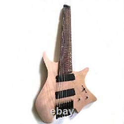 Musoo brand unfinished 8 strings fanned fret headless electric guitar