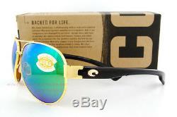 New Costa Del Mar Sunglasses SOUTH POINT Gold Green Mirror 580P POLARIZED
