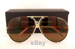New Porsche Design Sunglasses 8478 W Gold Interchangeable Lenses Men Women SZ 63