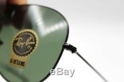 New Ray-Ban RB3025 L2823 Black/Green Classic G-15 Aviator Sunglasses 58mm