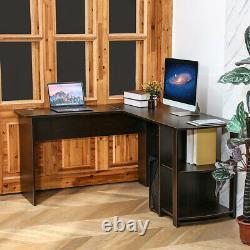 Office L-Shaped Gaming Computer Desk Corner PC Laptop Table Home Bookshelves 53
