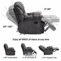 Oversized Manual Recliner Chair Velvet Fabric Sofa Wide Overstuffed Backrest