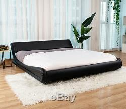 Queen PU Leather Upholstered Metal Platform Bed Frame Mattresss Foundation Black
