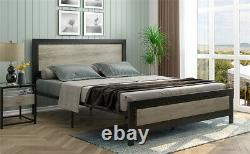 Queen Size Metal Platform Bed Frame Wooden Headboard &Footboard Bedroom Modern