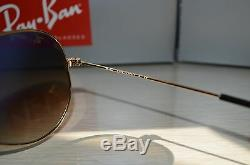 RAY BAN AVIATOR RB3025 58-14 Sunglasses Light Brown Gradient Lens, Gold Frame