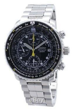 Seiko Pilot's Flight Alarm Chronograph SNA411 SNA411P1 SNA411P 200M Men's Watch