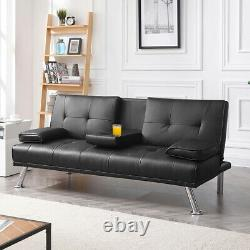Sleeper Sofa Couch Convertible PU Leather Sofa Bed Fold Living Room Futon Black