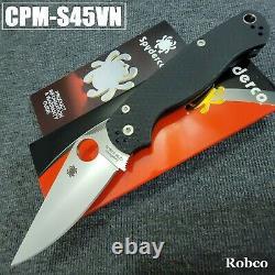 Spyderco Paramilitary 2 S45VN Satin Plain Blade Black G-10 Handles PM2 C81GP2