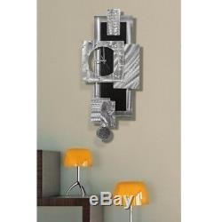 Statements2000 3D Metal Wall Clock Art Modern Silver Black Decor by Jon Allen