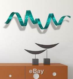 Statements2000 Teal 3D Metal Wall Sculpture Modern Abstract Art Decor Jon Allen