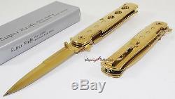 TAC-FORCE Super Knife Gold Godfather Stiletto Spring Assisted Opening Pocket