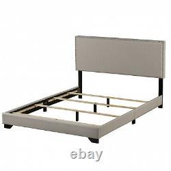 Upholstered Queen Size Platform Bed With Wood Slats & Headboard Frame, Light Gray