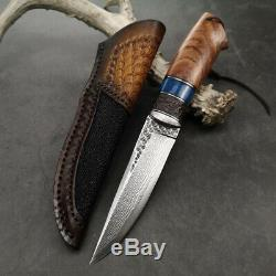 VG10 CORE DAMASCUS SURVIVAL OUTDOOR CAMPING HUNTING KNIFE FIXED BLADE With SHEATH