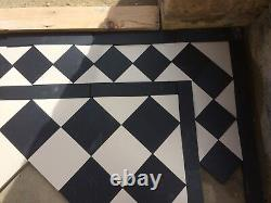 VICTORIAN OLD ENGLISH ORIGINAL STYLE FLOOR TILES BLACK AND WHITE 70 mm Per m2