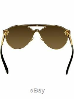 Versace Women's Mirrored VE2161-1002F9-42 Gold Shield Sunglasses