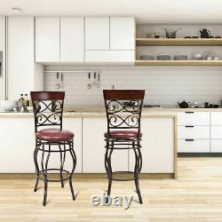 Vintage Bar Stools Swivel Padded Seat Bistro Dining Kitchen Pub Chair- Set of 2
