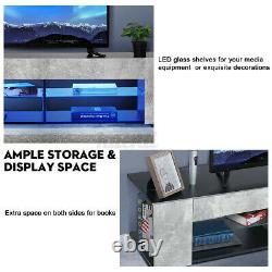 WOODY 57 RGB LED TV Stand Unit Console with Side Cabinet Entertainment Center