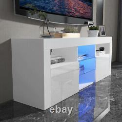 White High Gloss LED TV Stand Shelf Entertainment Center ConsoleCabinetFurniture