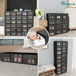 YITAHOME 12Pcs Shoe Box Stackable Storage Plastic Sneaker Organizer Big Cases