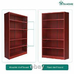 YITAHOME Bookshelf Bookcase Wood 5-Shelf Wide Storage Display Adjustable Brown